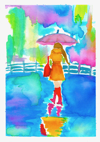 Print of brightly colored watercolor of a figure of a woman walking in the rain with pink umbrella and red purse and boots with washes of primary colors