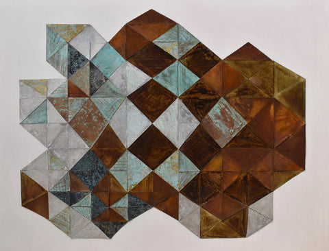 Mixed media painting with geometric diamonds of rusty browns alternating with textured grays on flat gray background