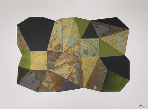 Globule of geometric shapes in greens and golds as well as rusts and black on a flat gray background