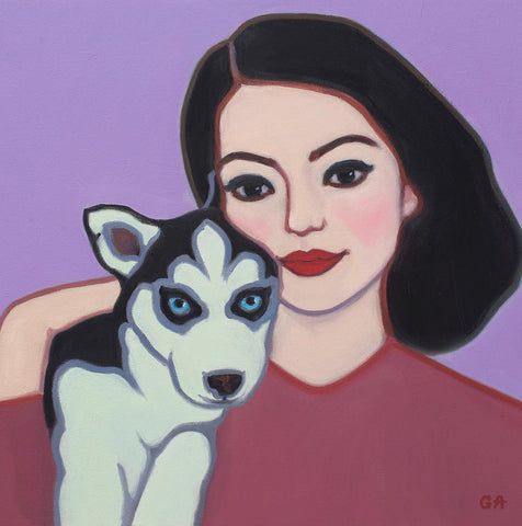 Portrait of young husky over the shoulder of a dark haired woman wearing a red shirt on a pink background