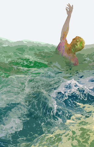 Colorful mesh-textured figure with arm raised while floating in rough ocean water on white background