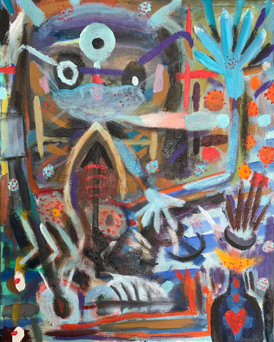 Colorful abstract image of primitive doctor figure in colorful setting