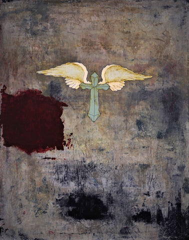 Cross with wings in the center of a distressed background of colorful grays