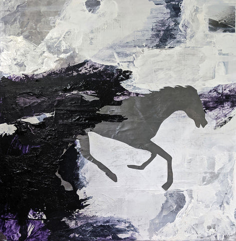 Shadowy horses charging rightward on an abstract light background