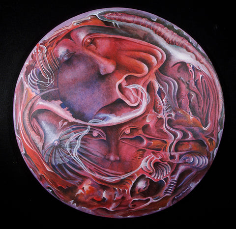Red swirling faces on circular canvas