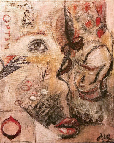 Abstract mixed-media drawing of eye, lips, and face in mostly browns