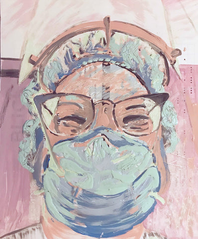 Painterly portrait of a healthcare worker in pastel colors on recycled paper with printing visible