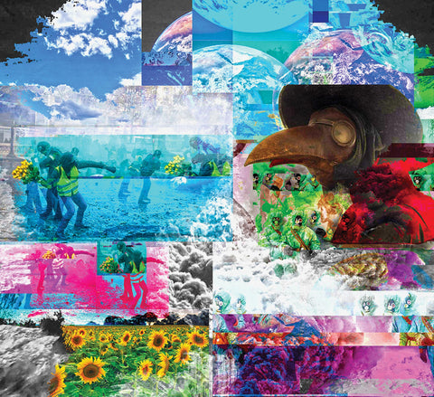 Colorful digital photo montage with the earth, protests throwing flowers, and a beaked figure