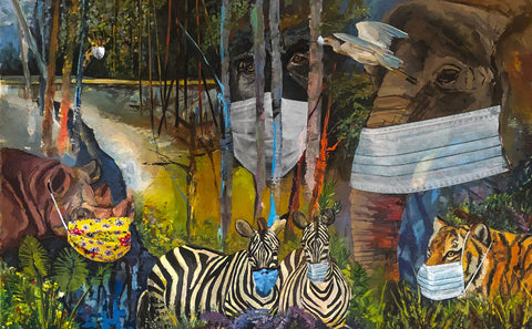 Colorful painting of various animals looking toward the view all wearing masks