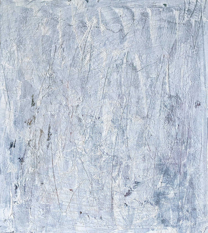 Non-objective abstract painting in mostly light shades of white with scratch marks throughout
