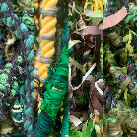 Photo collage of close-up of multiple vertical segments of colorful ribbon hair braids