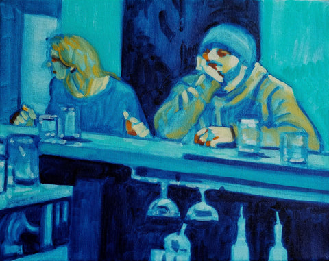 Two figures at a bar mostly in blues