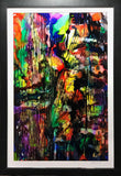 Non-objective abstract painting in primary colors and black with white mat and dark frame