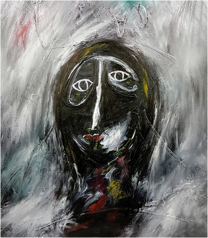 Painterly abstract portrait of dark figure with white facial features on a gray background