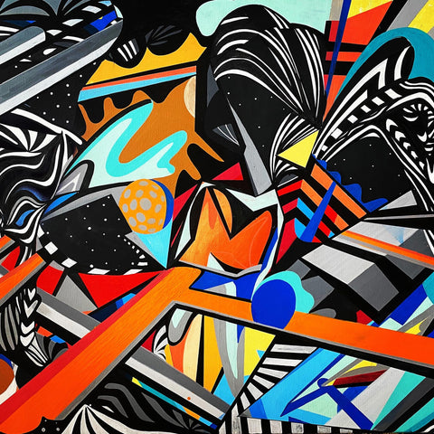 Bold and colorful abstract painting in many oranges, blues, along with black and white non-objective shapes