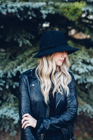 Charlotte Felt Hat in Jet Black