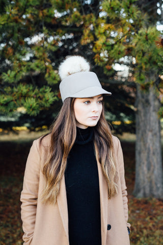 Sabine Cap in Concrete Grey with Fox Fur Pom Pom