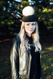 Celeste Wool Felt Hat in Jet Black with Fur Pom Pom