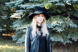 Harper Wool Felt Hat with Crinkled Brim in Jet Black