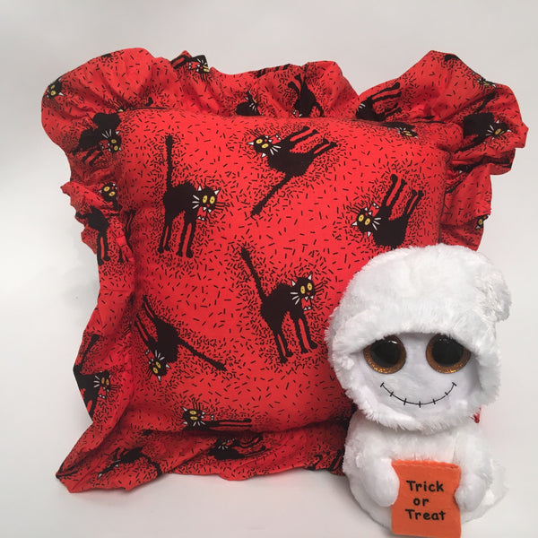 Halloween Scary Cat with Ruffle Holiday Pillow