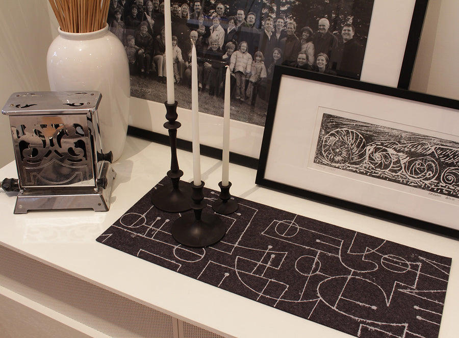 Chalkline Table Runner Charcoal