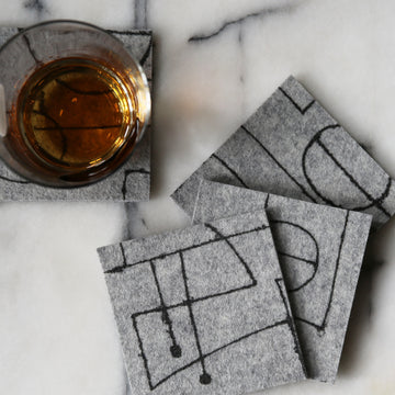 Chalkline coasters, Eco friendly, 100% merino wool felt, Black on Grey