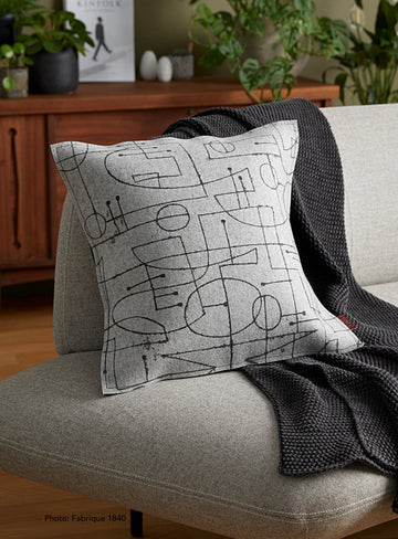 Cushion Chalkline Black on Grey