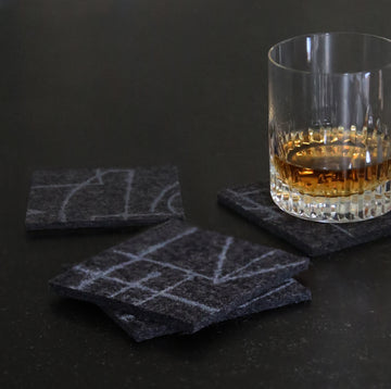 Chalkline Coasters, Eco friendly, 100% merino wool felt, Grey on Charcoal