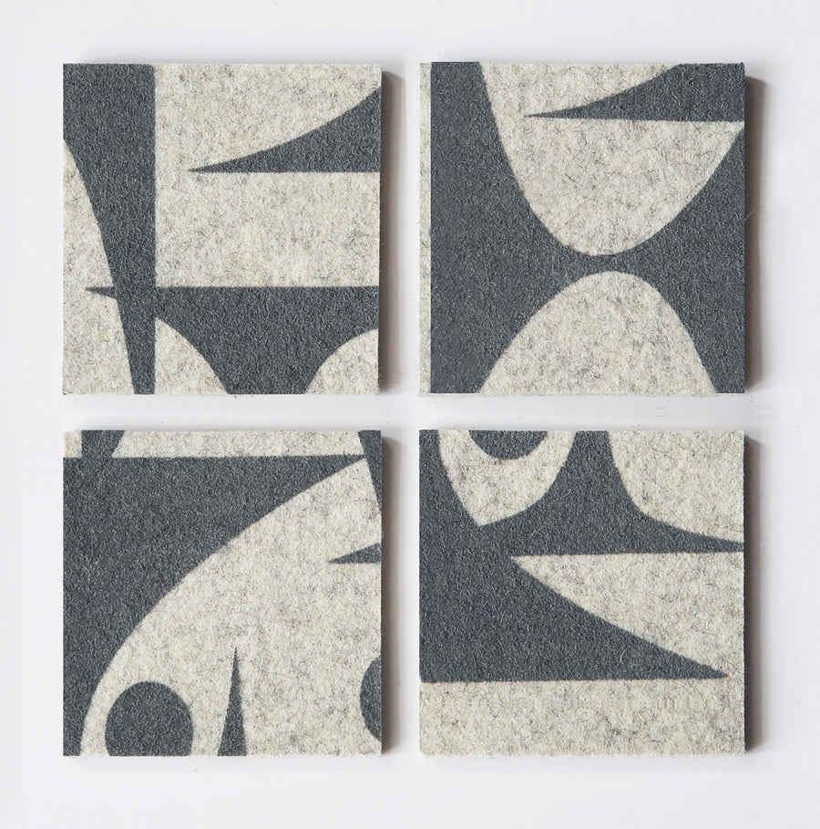 Coasters Geo Jazz Grey on Raw White
