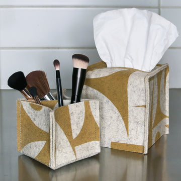 Tissue Box Cover GeoJazz Ochre on Raw White