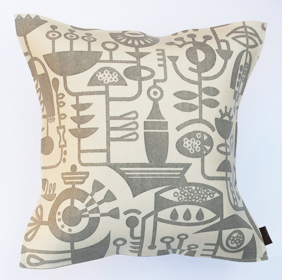 Living Laboratory Cushion Medium, Warm Grey on Ivory