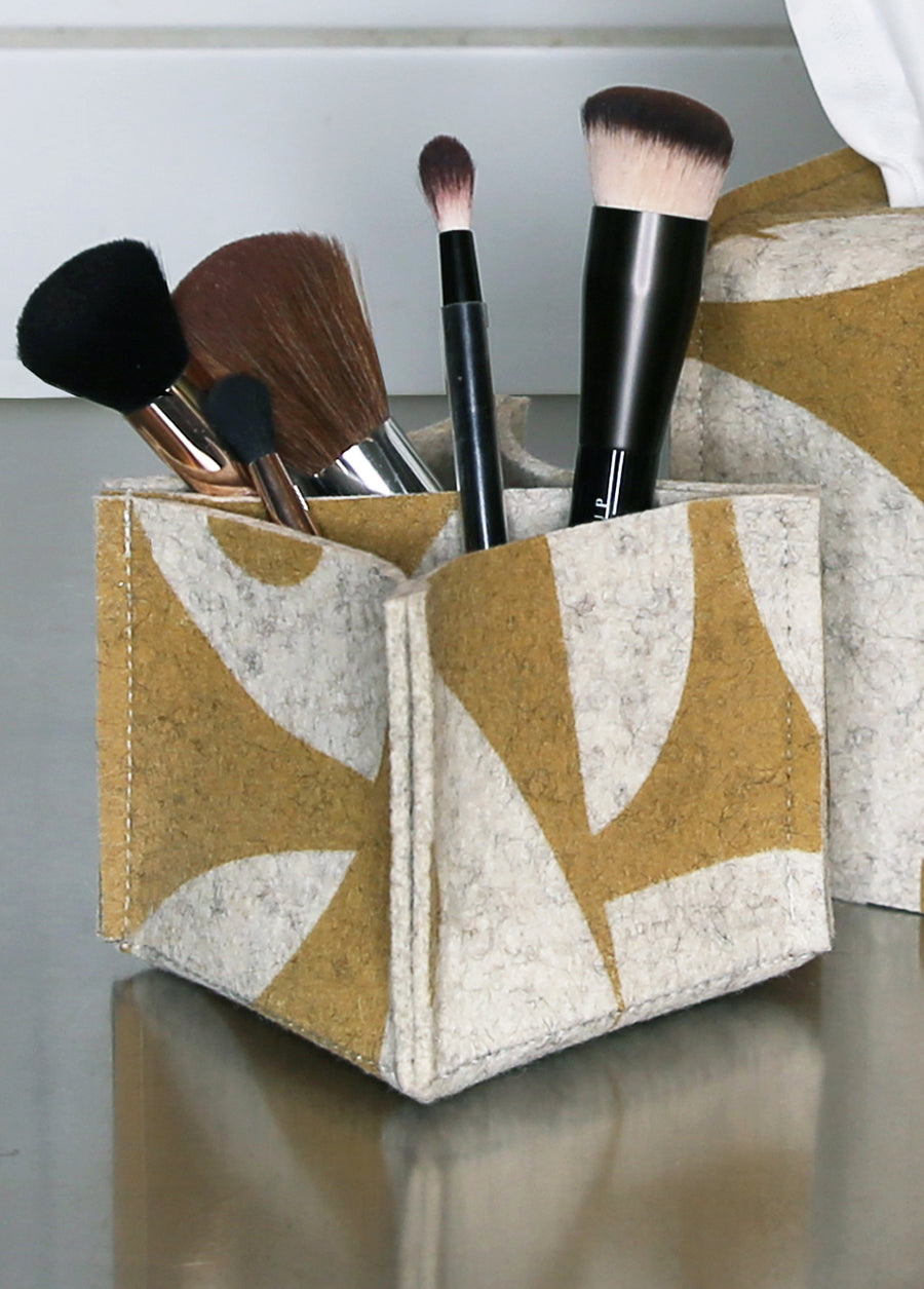 Pen/Pencil Desk Organizer Geo Jazz Ochre