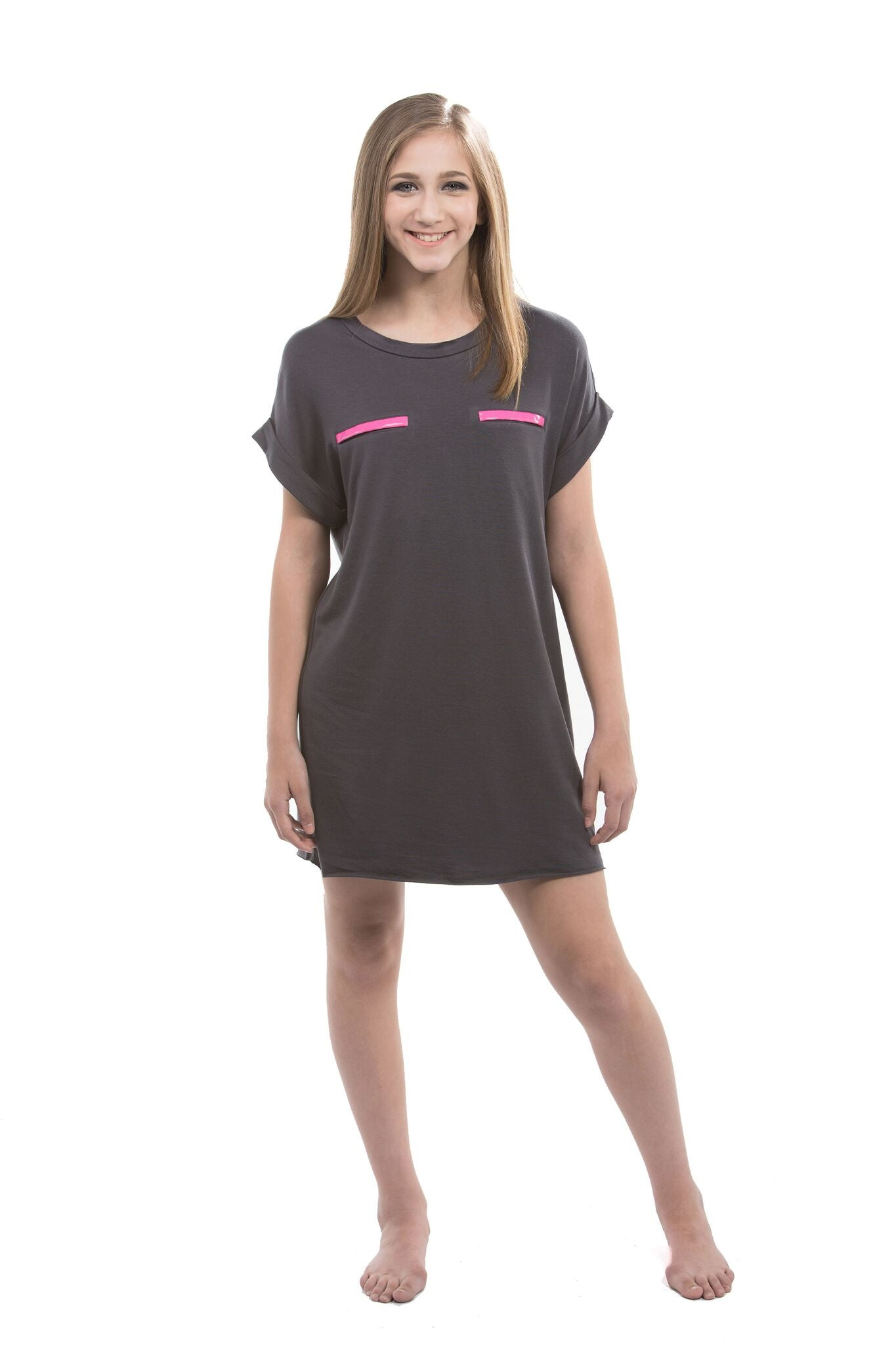 C2 dance wear t-shirt dress - Red Front