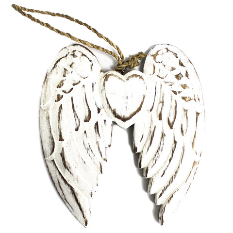 Hand Crafted Small Double Angel Wing & Heart - 15cm
