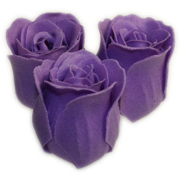 Bath Roses - 3 Roses in Heart Box (Lavender)