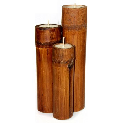 Set of 3 Bamboo Candles - Dark Brown