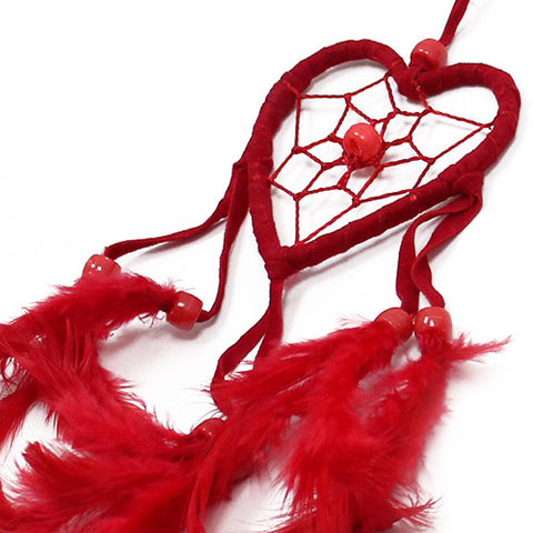 6x Bali Dreamcatchers - Small Heart - Black/White/Red