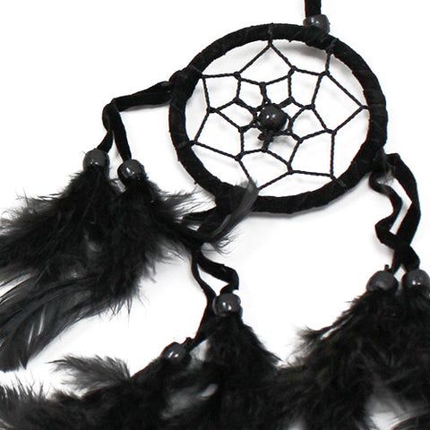 6x Bali Dreamcatchers - Small Round - Black/White/Red