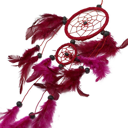 6x Bali Dreamcatchers - Medium Round - Black/White/Red