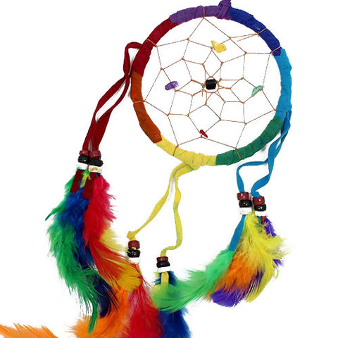 6x Bali Dreamcatchers - Medium Round - Rainbow