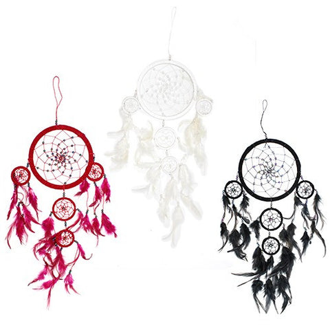 3x Bali Dreamcatchers - Large Round - Black/White/Red