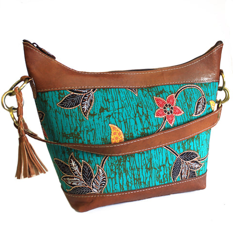 Batik & Leather Bag - Shoulder Bag - Teal