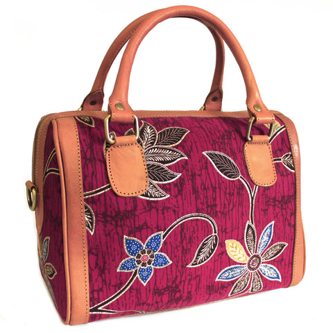 Batik & Leather Bag - Executive Bag - Ruby