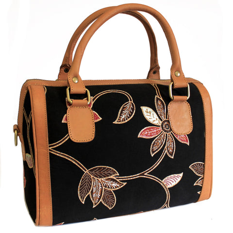 Batik & Leather Bag - Executive Bag - Black