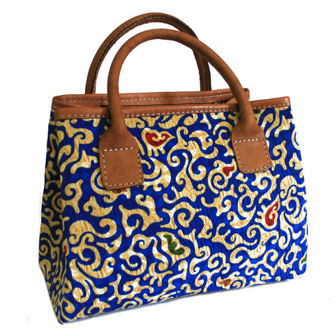 Batik & Leather Bag - City Bag - Blue
