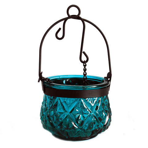 Moroccan Style Hanging Candle Lantern - Teal
