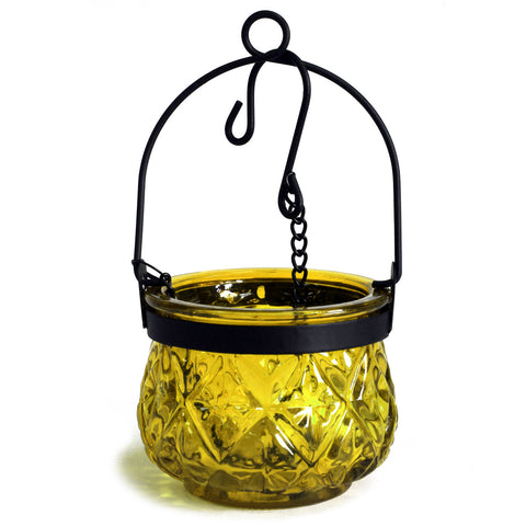 Moroccan Style Hanging Candle Lantern - Yellow