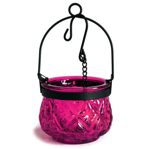 Moroccan Style Hanging Candle Lantern - Violet