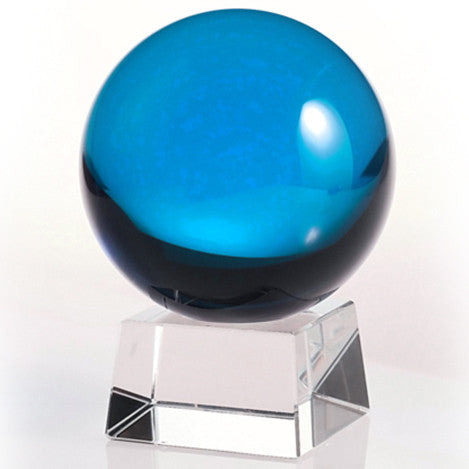 60mm Light Blue Crystal Ball On Stand