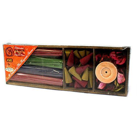 Long Box Sticks, Cones & Holder - Gift Incense Pack